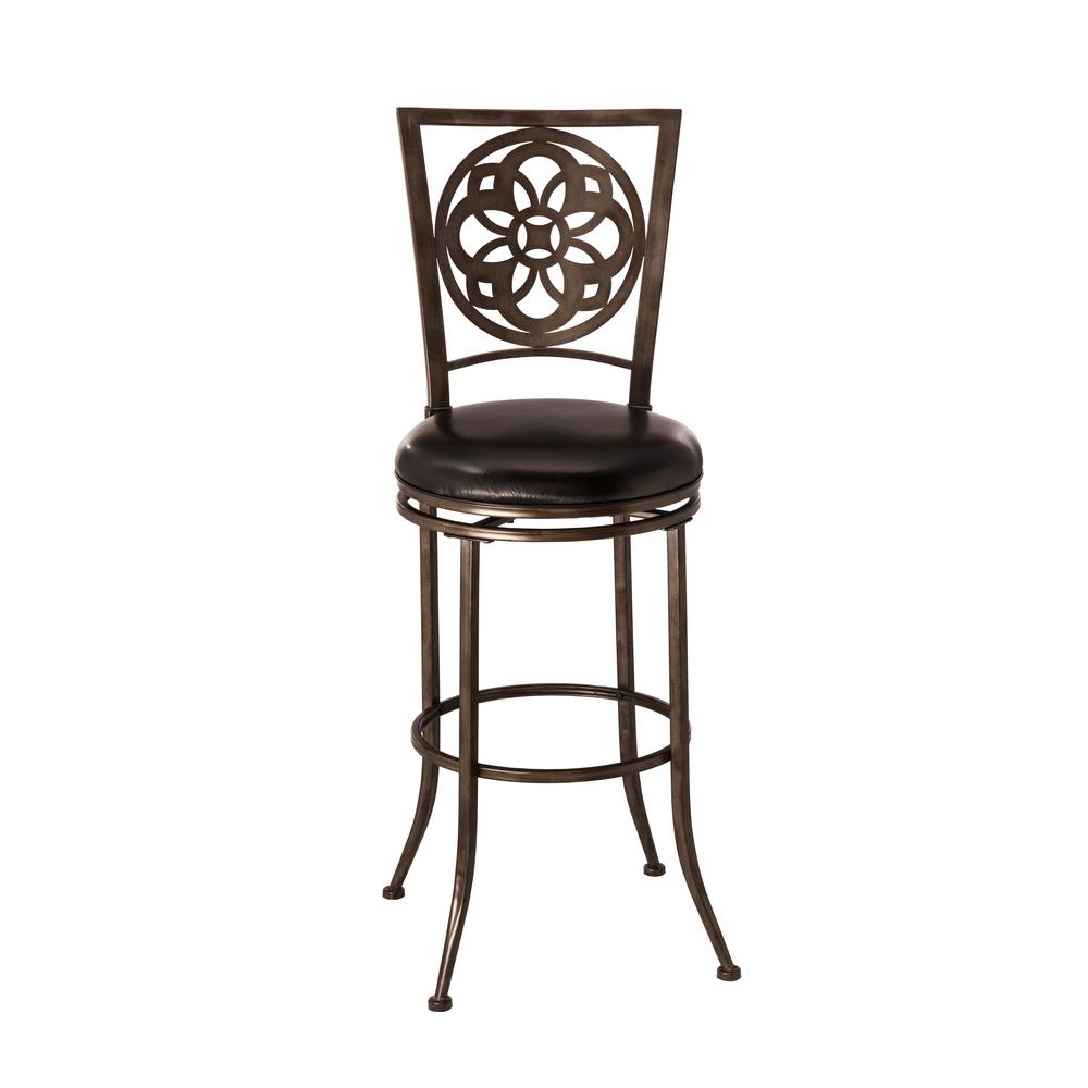 Marsala 30 in. Gray Swivel Cushioned Bar Stool