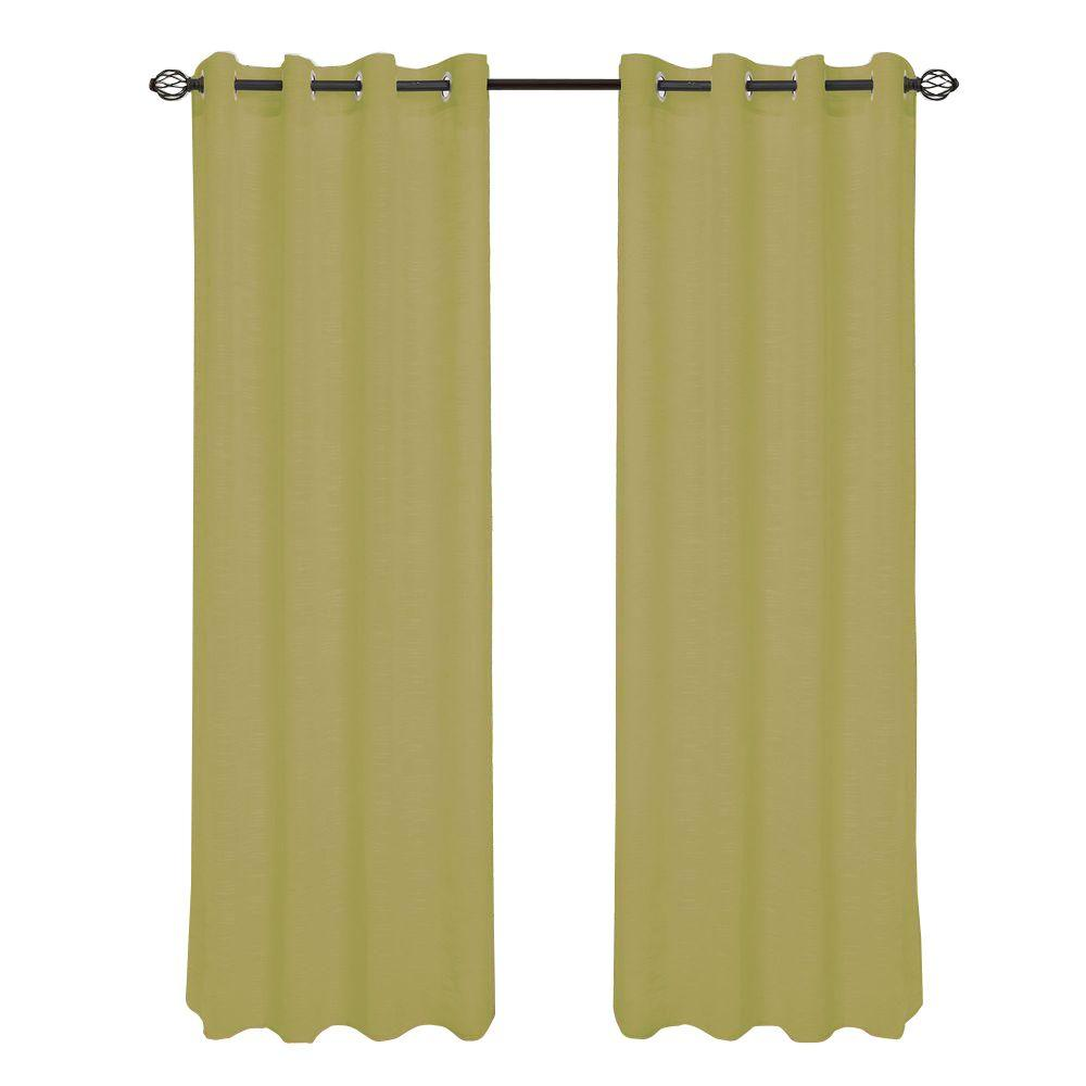 Lavish Home Light Green Mia Jacquard Grommet Curtain Panel, 84 in. Length