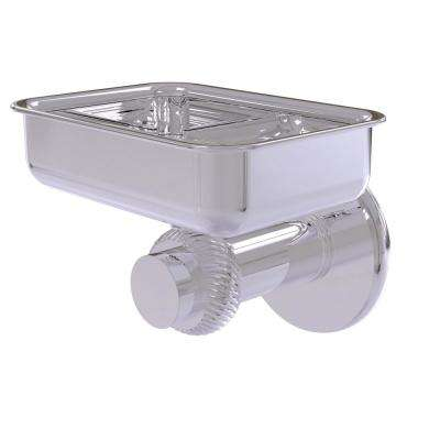 Mercury Collection Wall Mounted Soap Dish with Twisted Accents in Polished Chrome