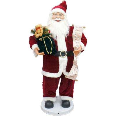 36 in. Traditional Christmas Dancing Santa with Scroll and Velvet Toy Sack