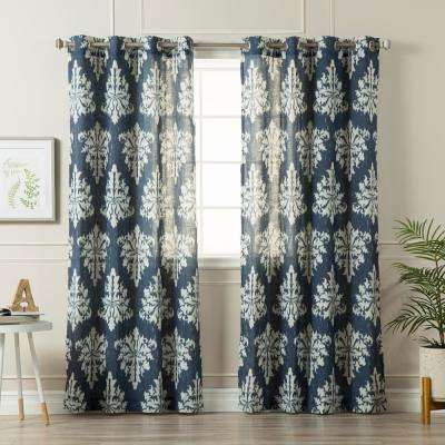 96 in. L Linen Blend Medina Curtains in Navy (2-Pack)