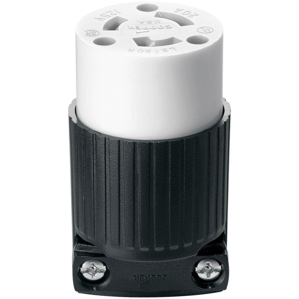 Eaton 20 Amp 120-Volt AutoGrip Connector, Black and White-5369N ...