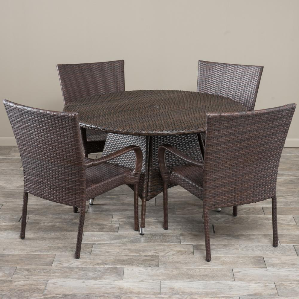 Noble House Grant Multi-Brown 5-Piece Wicker Outdoor Dining Set