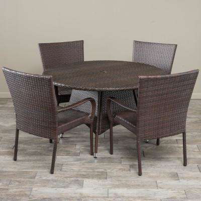 Grant Multi-Brown 5-Piece Wicker Outdoor Dining Set