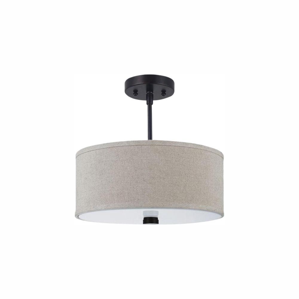Sea Gull Lighting Dayna Shade Pendants 2-Light Burnt Sienna Semi-Flush Mount Convertible Pendant with LED Bulbs