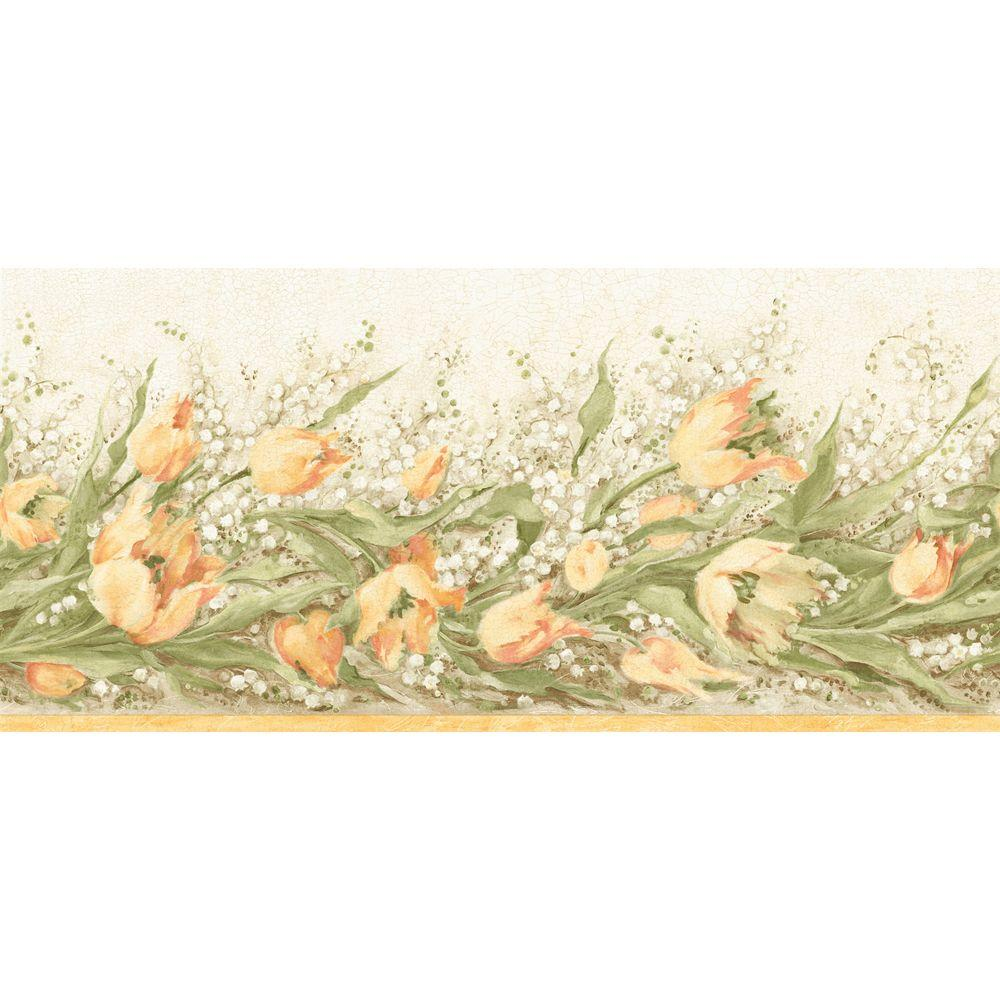 The Wallpaper Company 8 in. x 10 in. Yellow Floral Trail Border Sample-DISCONTINUED