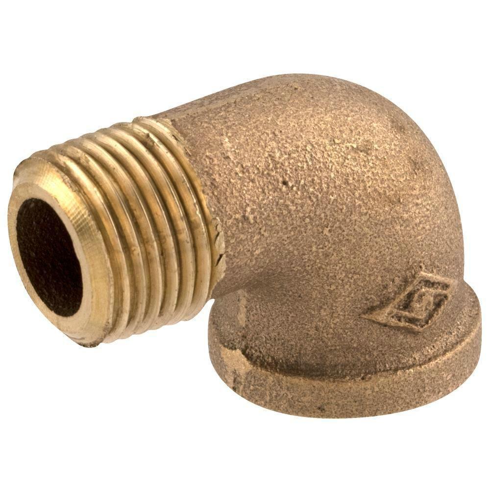 Everbilt 1/4 in. MIP x 1/4 in. FIP Lead-Free Brass Pipe Street 90-Degree Elbow
