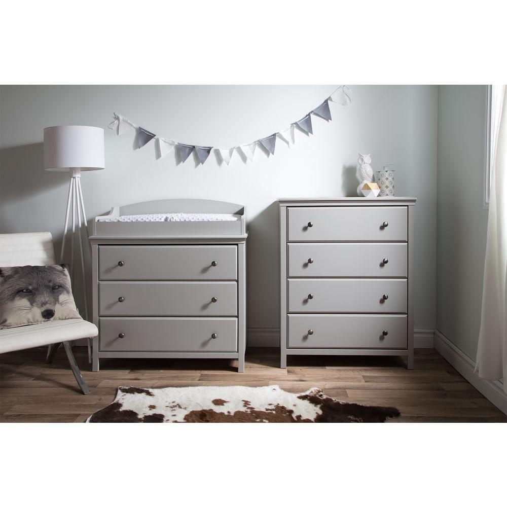 Beau South Shore Cotton Candy 3 Drawer Soft Gray Changing Table