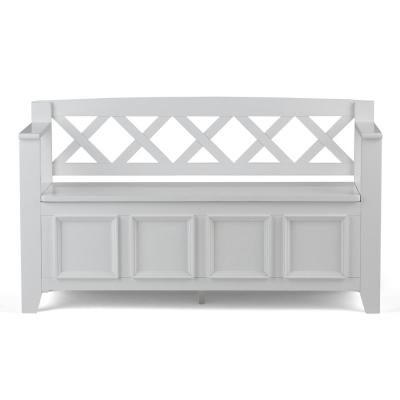 Washington Solid Wood 48 in. Wide Transitional Entryway Storage Bench in White
