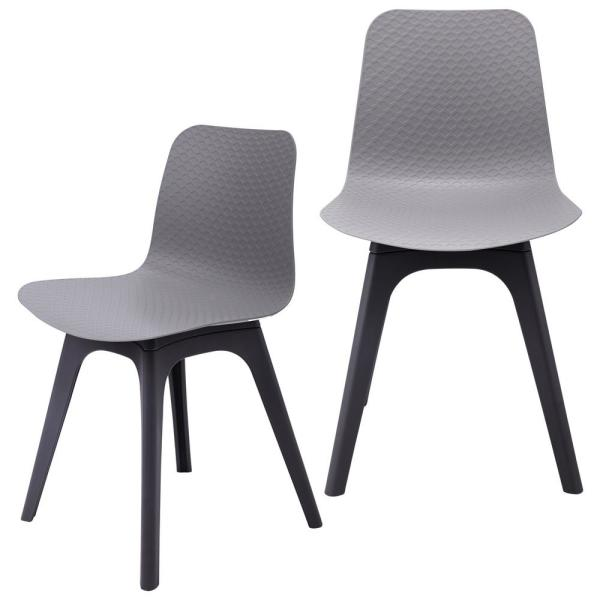 CozyBlock Hebe Series Gray Dining Shell Side Chair Molded Plastic with