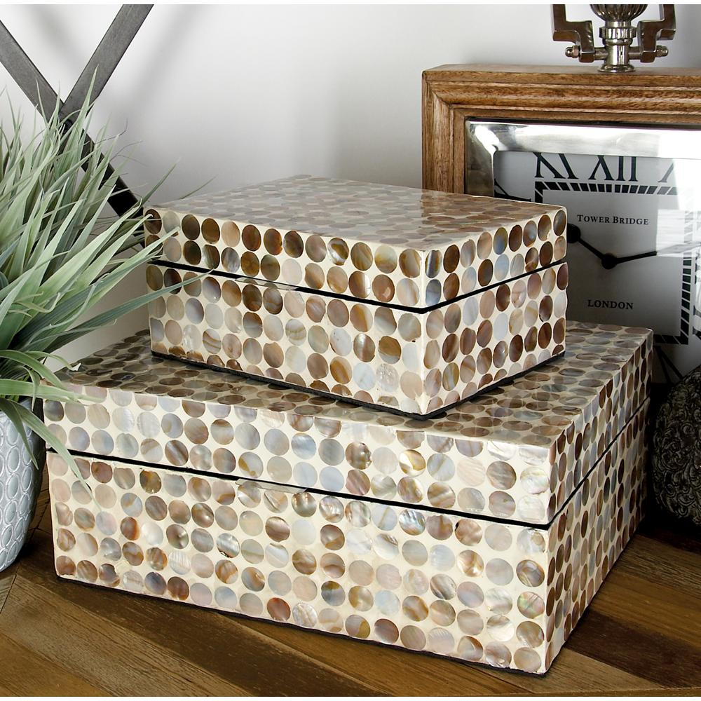 Beige MDF Multiple Decorative Boxes with Multi-Color Mother of Pearl Circular