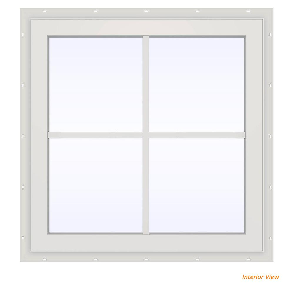 23.5 in. x 23.5 in. V-2500 Series White Vinyl Fixed Picture