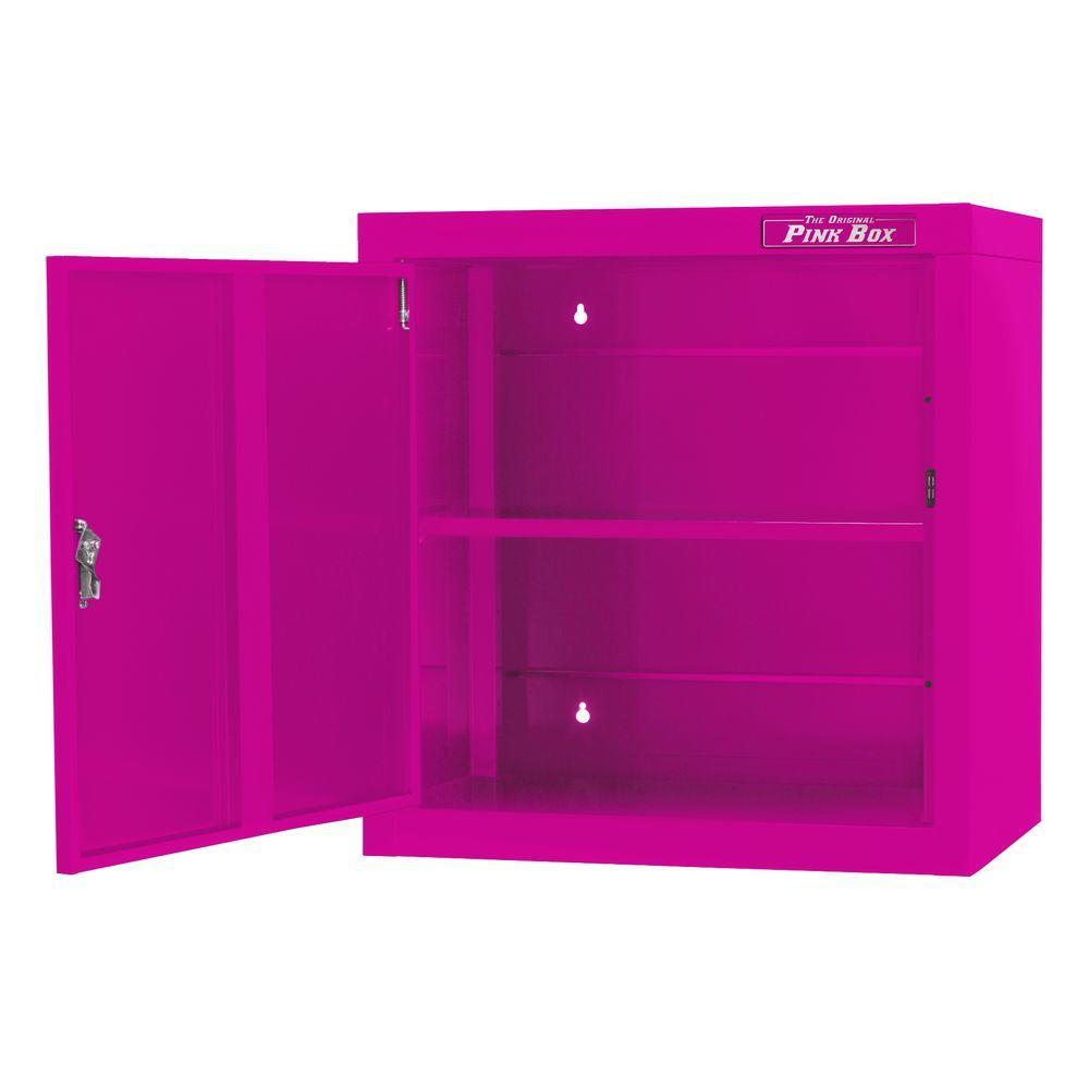 The Original Pink Box 26 in. 1-Door Steel Wall Cabinet in Pink