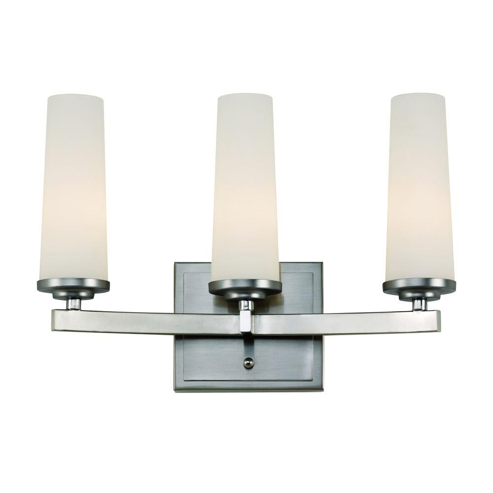 Bel Air Lighting 3-Light Satin Nickel Vanity Bath Light with Frosted Glass Cylinders-20243 SN ...