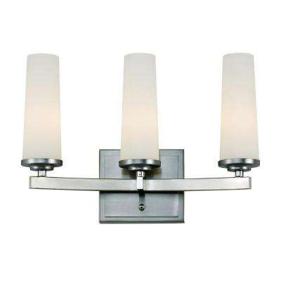 3-Light Satin Nickel Vanity Bath Light with Frosted Glass Cylinders