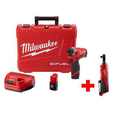 M12 FUEL 12-Volt Lithium-Ion Brushless Cordless 1/4 in. Hex Impact Driver Kit with Free M12 3/8 in. Ratchet