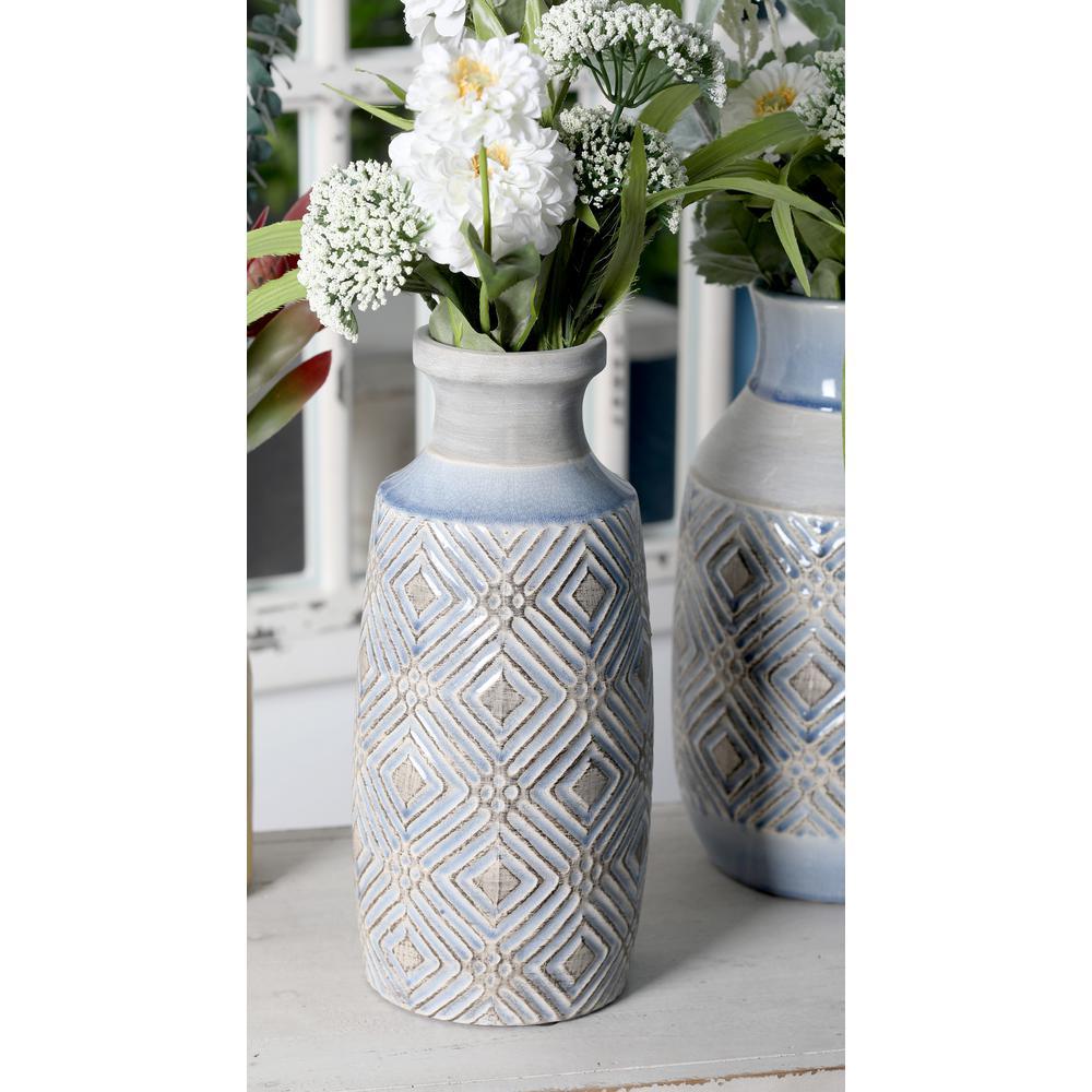 13 in gray ceramic decorative vase with blue woven line patterns gray ceramic decorative vase with blue woven line patterns reviewsmspy