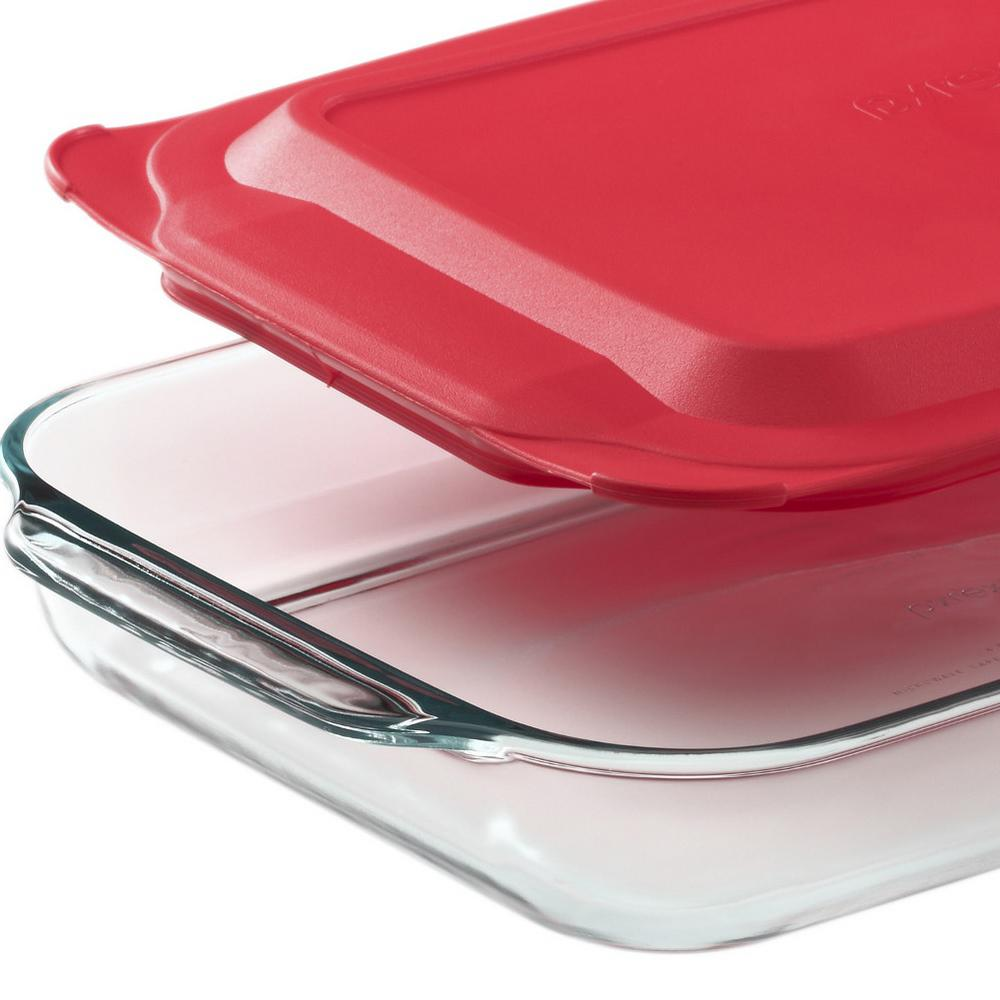 Pyrex Basics 2-qt Oblong with red cover