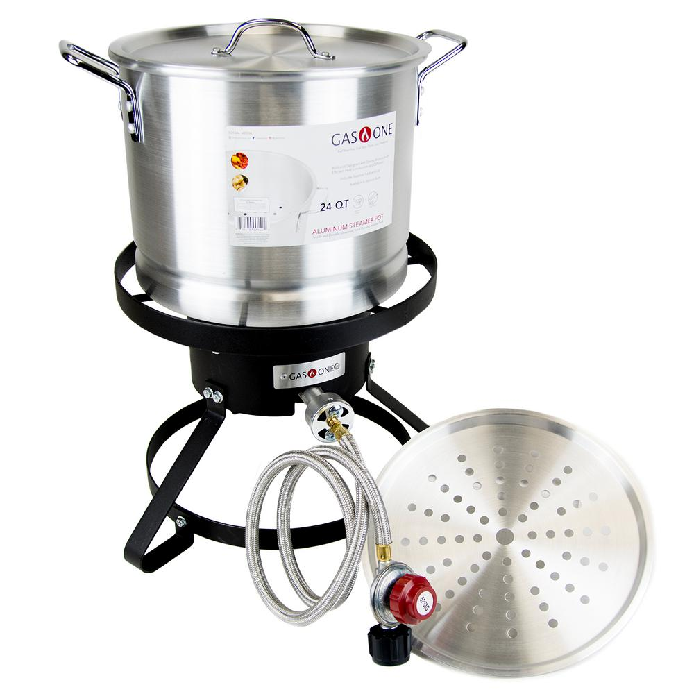 Gas One Outdoor Propane Burner Cooker with Steamer Pot for Turkey Fry and Tamale