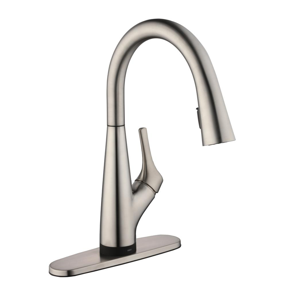 GlacierBay Glacier Bay Eagleton Pull-Down Kitchen Faucet with Water Filtration in Stainless Steel, Silver