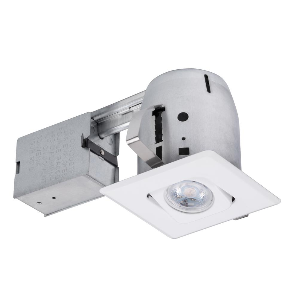 Globe Electric 4 in. White Recessed Lighting Kit with Swivel, Square Shape and Spot Light