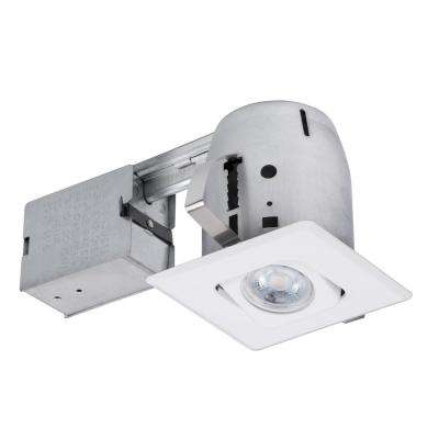4 in. White Die-Cast Recessed Lighting Kit