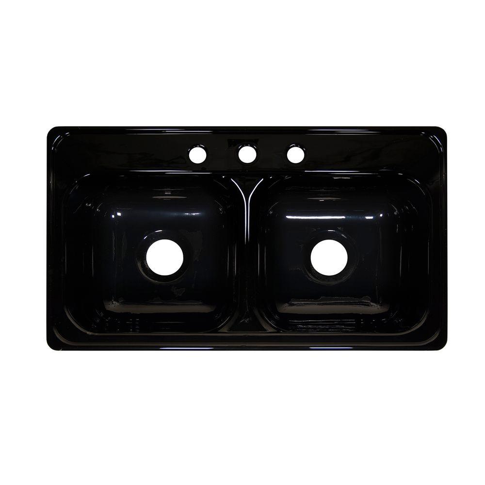 Lyons Industries Style J Drop-In Acrylic 33x19x9 in. 3-Hole 50/50 Double Bowl Kitchen Sink in Black
