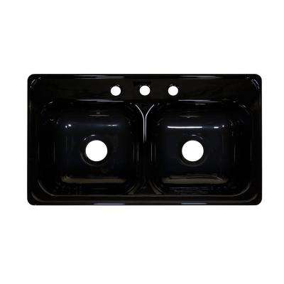 Style J Drop-In Acrylic 33x19x9 in. 3-Hole 50/50 Double Bowl Kitchen Sink in Black
