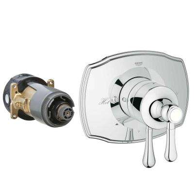 Authentic 2-Handle GrohFlex Universal Rough-In Box Dual Function Pressure Balance Valve Kit in Chrome