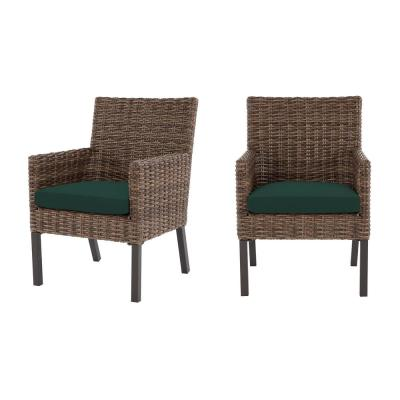 Fernlake Taupe Wicker Outdoor Patio Stationary Dining Chair with CushionGuard Charleston Blue-Green Cushions (2-Pack)