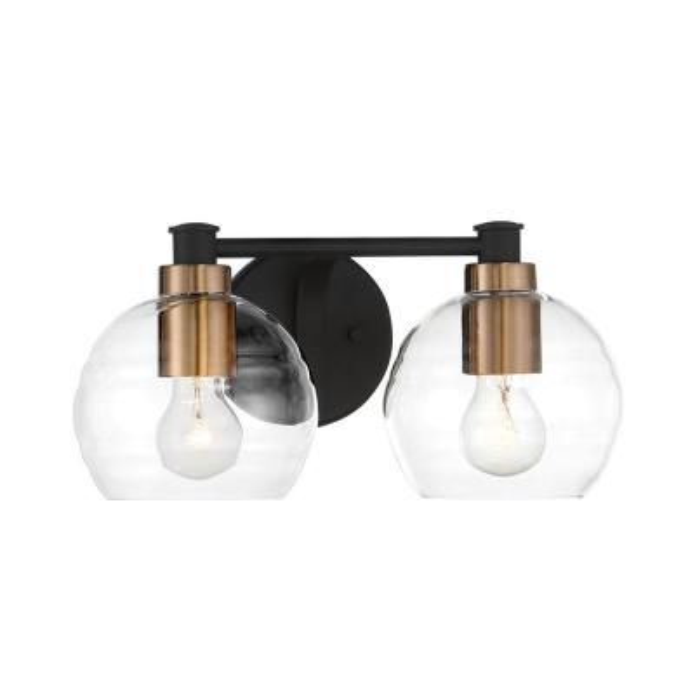 Keyport 2-Light Sand Coal with Natural Brushed Brass Bath Light