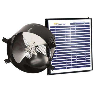 1680 CFM 20-Watt Black Solar Powered Gable Fan