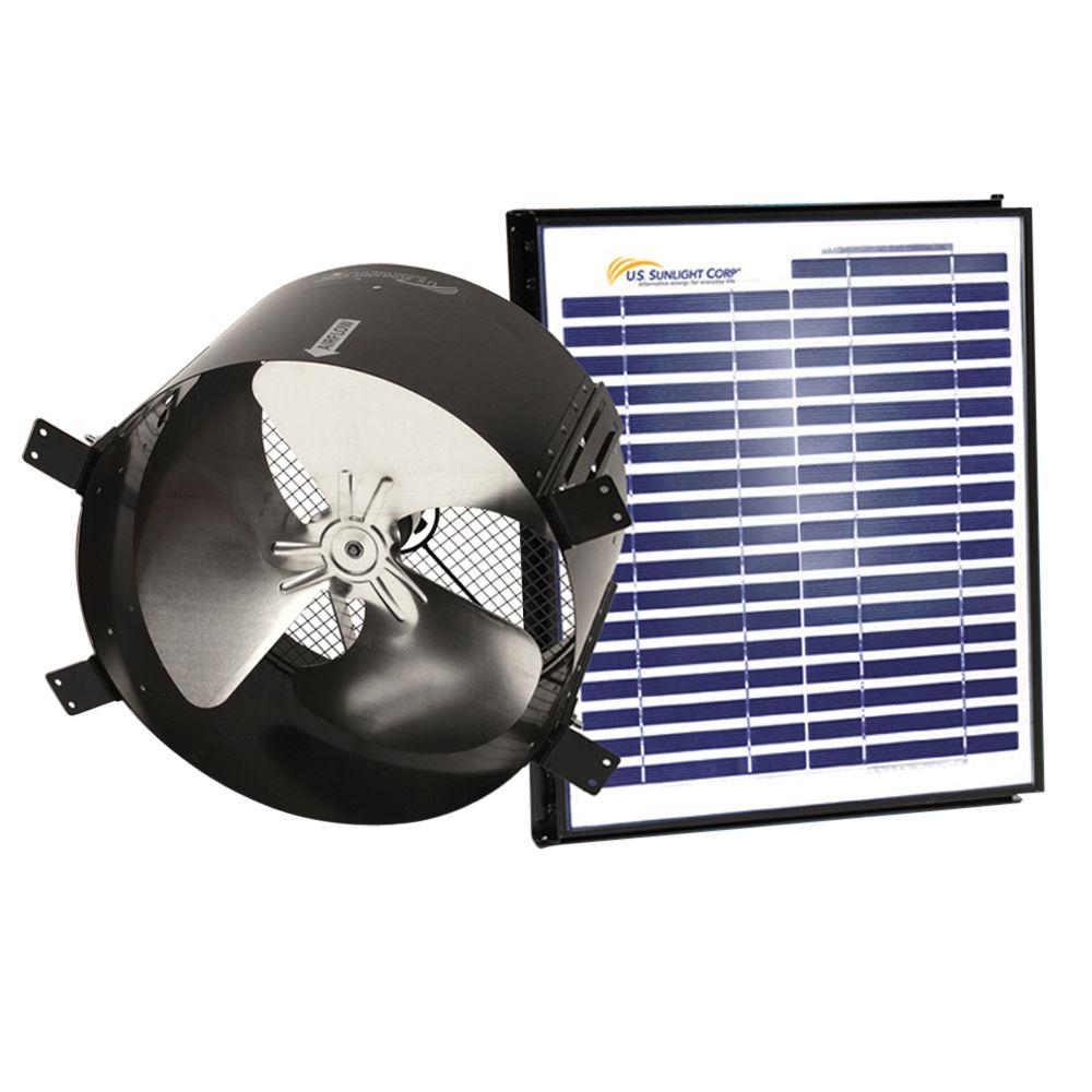 Us Sunlight 1680 Cfm 20 Watt Black Solar Powered Gable Fan 97334 Attic Switch All Installations The Home Depot