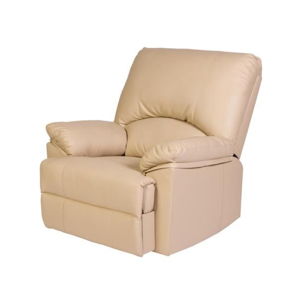 Relaxzen Reynolds Cream Bonded Leather Massage Rocker Recliner 60-7000M08