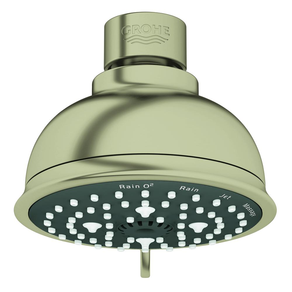 Grohe Tempesta 4 Spray 4 In Single Wall Mount Fixed Rain Shower Head In Brushed Nickel 26045en1 The Home Depot