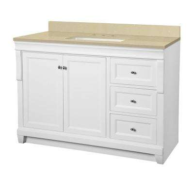 Naples 49 in. W x 22 in. D Vanity in White with Engineered Marble Vanity Top in Crema Limestone with White Sink