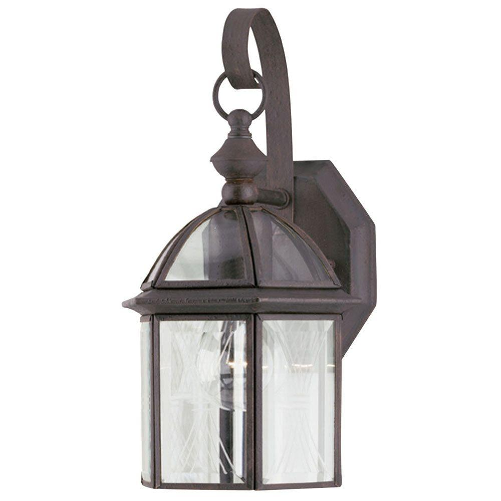 Westinghouse 1-Light Textured Rust Patina on Solid Brass Steel Exterior Wall Lantern with Clear Beveled and Etched Glass