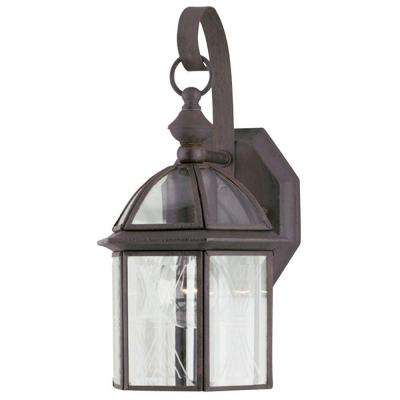 1-Light Textured Rust Patina on Solid Brass Steel Exterior Wall Lantern with Clear Beveled and Etched Glass