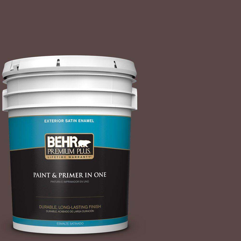 BEHR Premium Plus 5-gal. #750B-7 Thick Chocolate Satin Enamel Exterior Paint