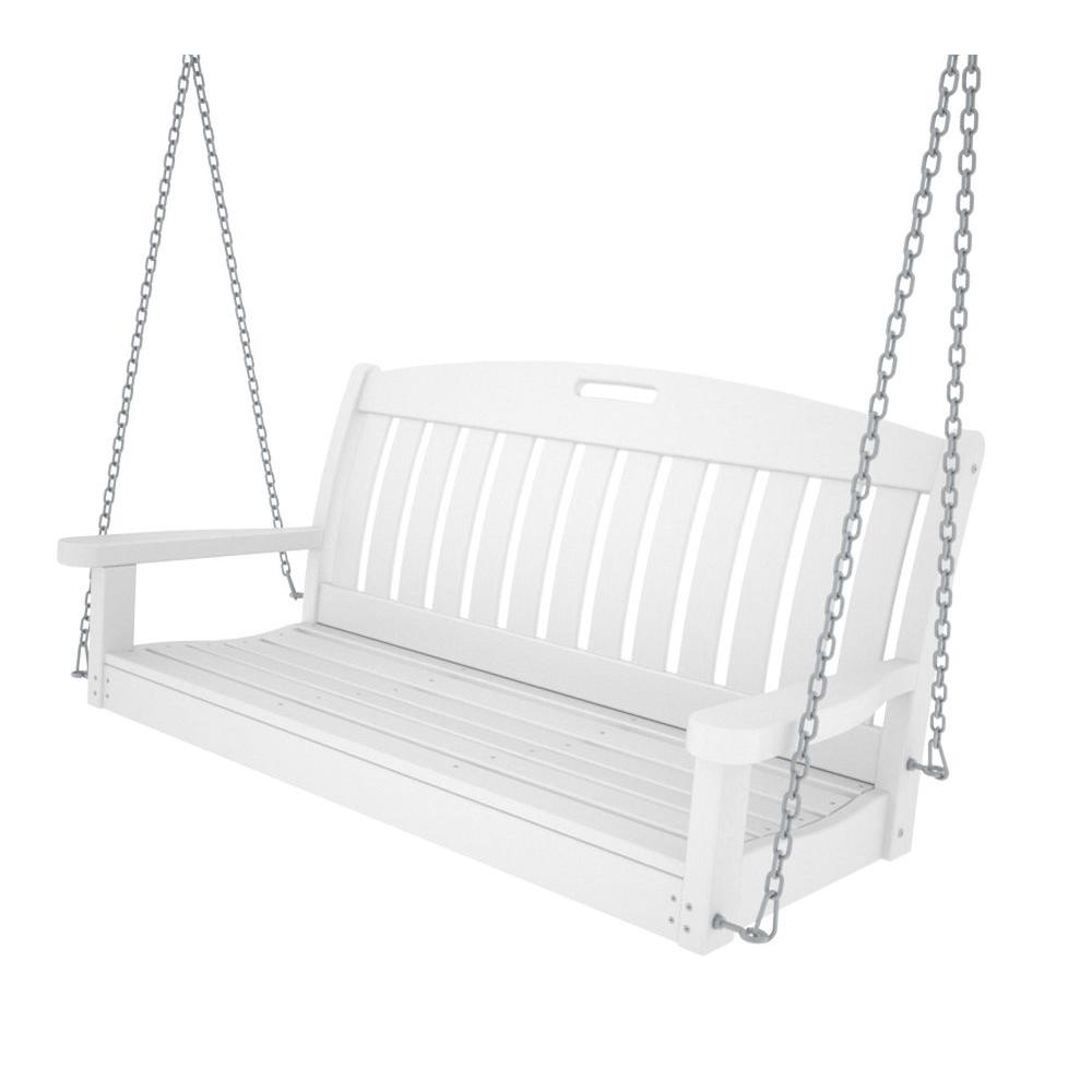 POLYWOOD Nautical 48 in. Black Patio Swing-NS48BL - The Home Depot