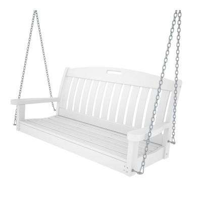 Nautical 48 in. White Plastic Outdoor Porch Swing