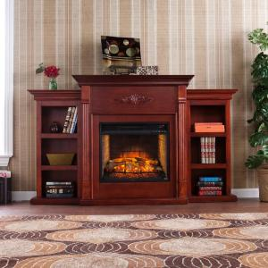 Click here to buy  Greenfield 70.25 inch W Infrared Electric Fireplace with Bookcases in Classic Mahogany.