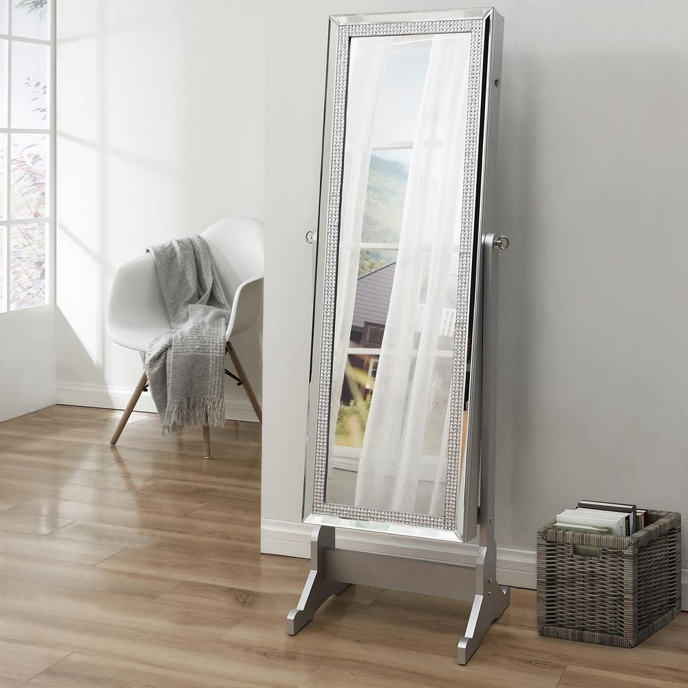 Inspired Home Shimmer Classic Silver Crystal Border Cheval Mirror Jewelry Armoire 575 In X 181 In X 145 In With Led Lights