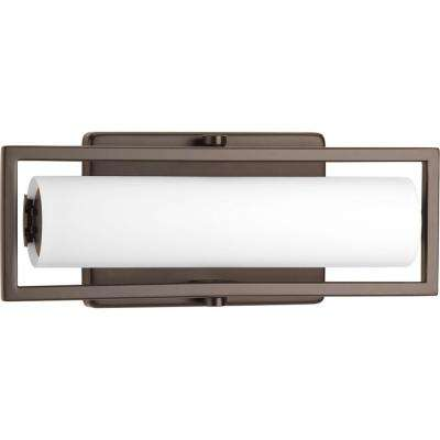 Frame Collection 15-Watt Architectural Bronze Integrated LED Linear Bathroom Vanity Light with Glass Shades