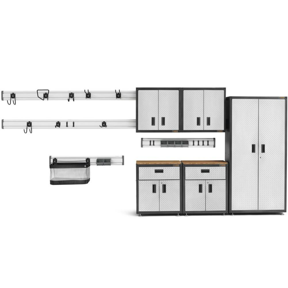 Gladiator Ready-to-Assemble 72 in. H x 92 in. W x 18 in. D Steel Garage Storage System in Silver Tread (16-pieces)