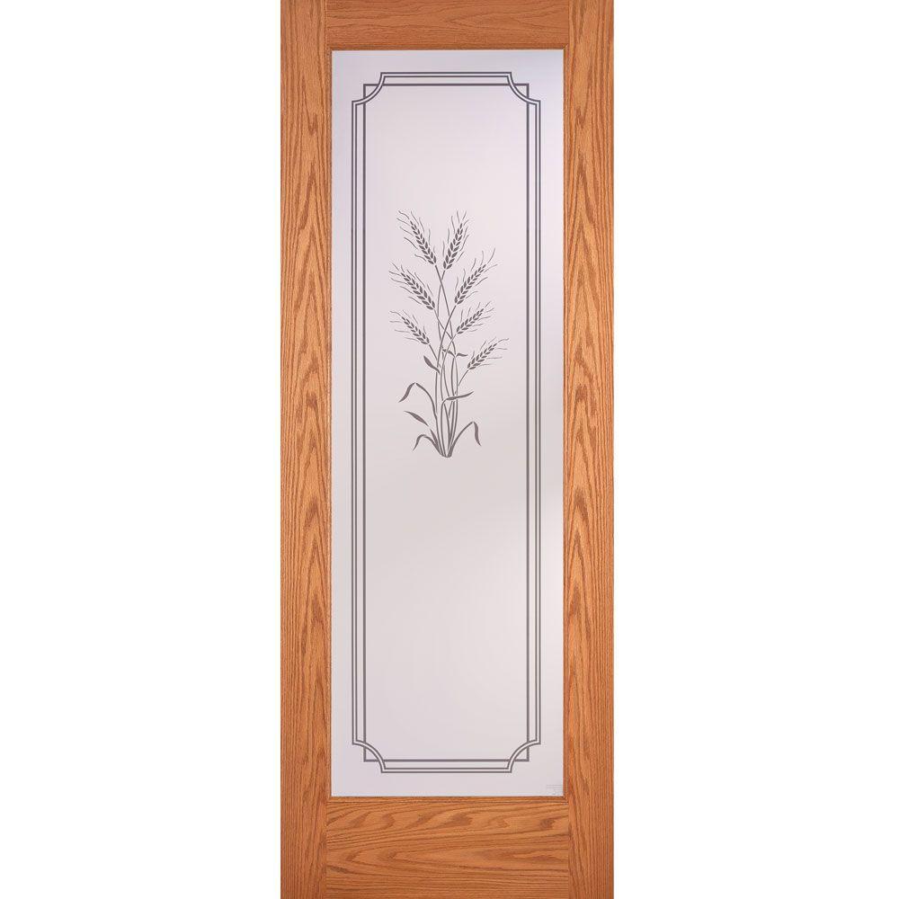 32 in. x 80 in. 1 Lite Unfinished Oak Harvest Woodgrain Interior Door Slab