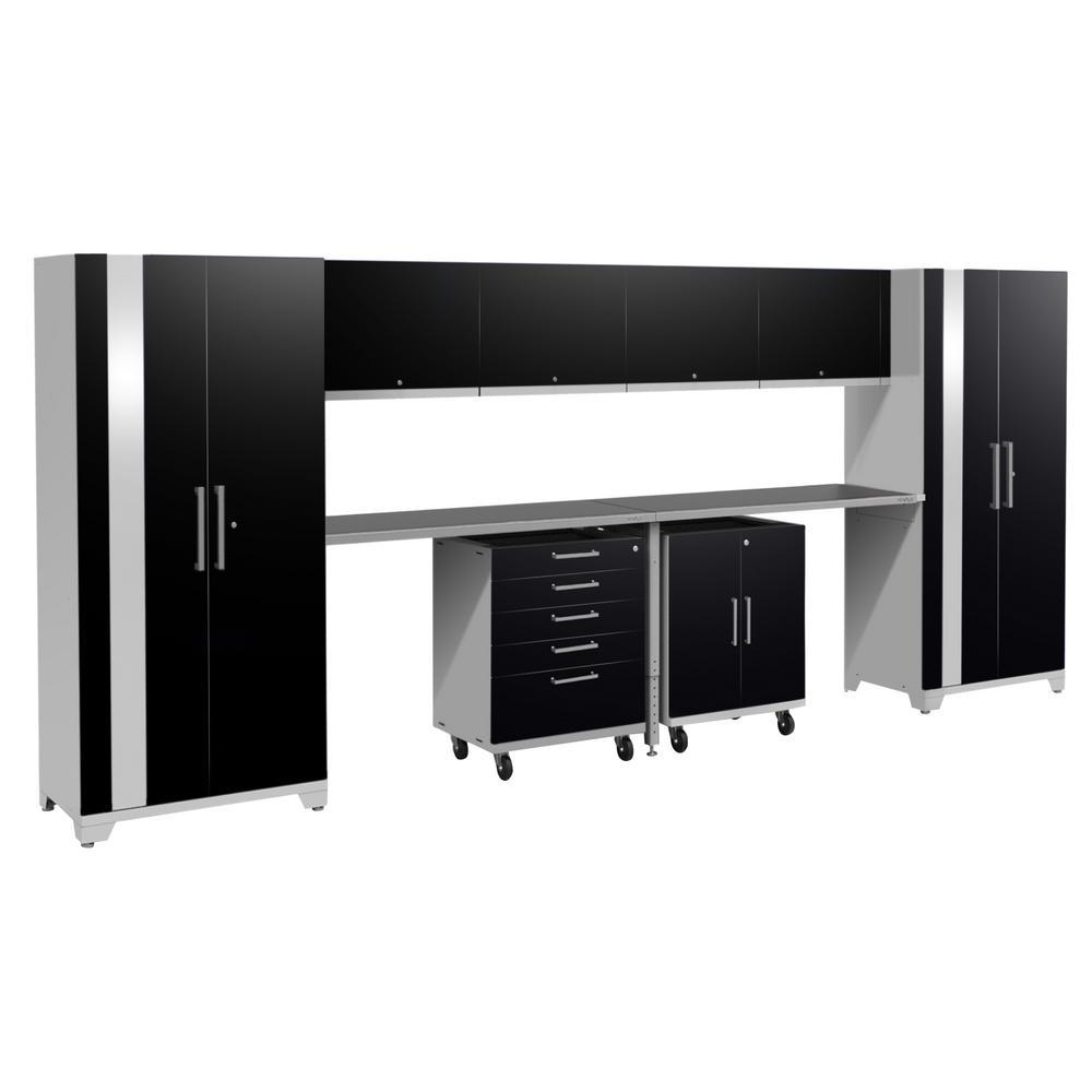 Performance Plus 2.0 80 in. H x 189 in. W x 24 in. D Steel Garage Cabinet Set in Black (12-Piece)