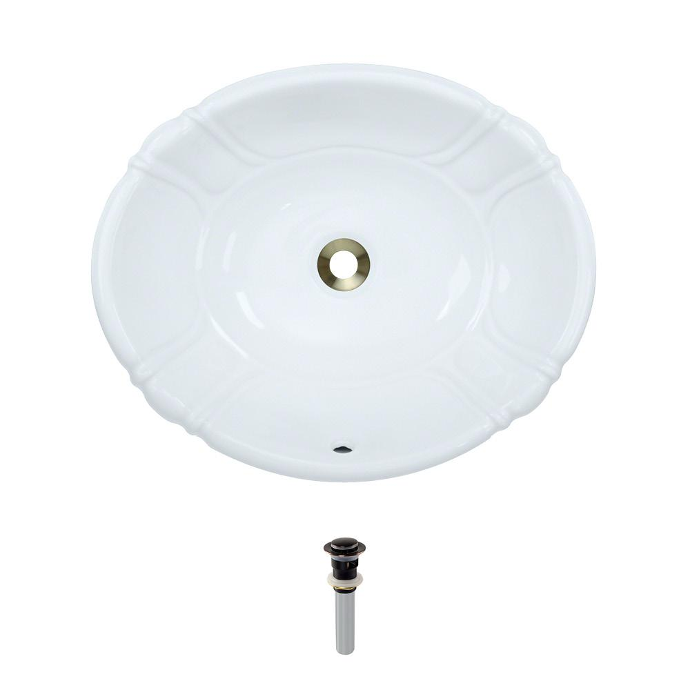 Dual-Mount Porcelain Bathroom Sink in White with Pop-Up Drain in Antique