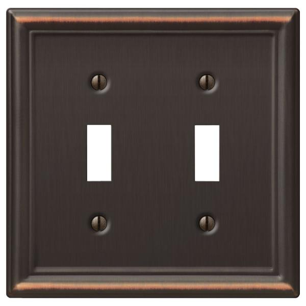 Hampton Bay Ascher 2 Gang Toggle And 1 Gang Duplex Steel Wall Plate Combo Pack Aged Bronze 149ttdbhb Ddbhb The Home Depot