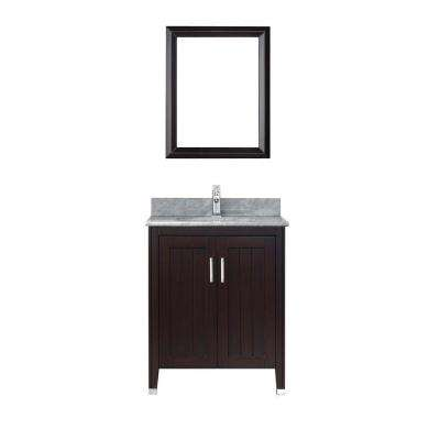 Jackie 28 in. Vanity in Chai with Marble Vanity Top in Chai and Mirror